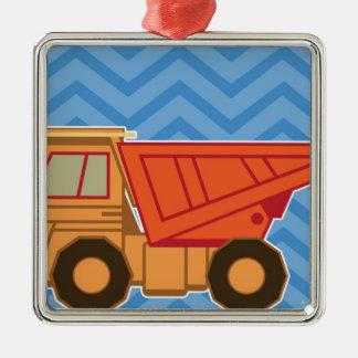 交通機関重い装置のダンプトラック-青 メタルオーナメント