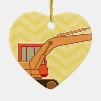 交通機関重い装置のバックホウ-黄色 セラミックオーナメント