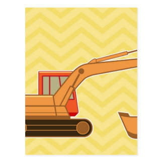交通機関重い装置のバックホウ-黄色 ポストカード