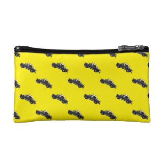 交通渋滞の-黄色および黒いタクシー コスメティックバッグ