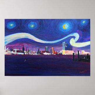 交響楽団エルベ川が付いているハンブルクの星明かりの夜 ポスター