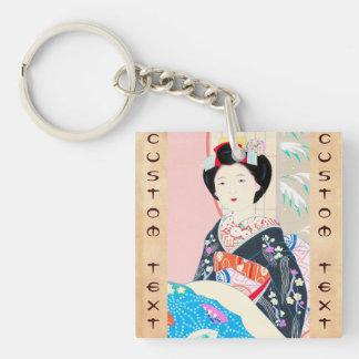 京都のブロケード、女性4つの葉-冬の日本人の キーホルダー