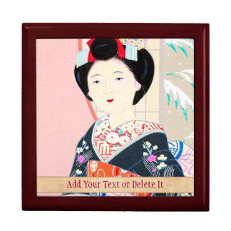 京都のブロケード、女性4つの葉-冬の日本人の ギフトボックス
