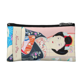 京都のブロケード、女性4つの葉-冬の日本人の コスメティックバッグ