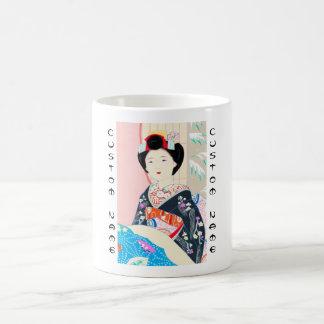 京都のブロケード、女性4つの葉-冬の日本人の コーヒーマグカップ