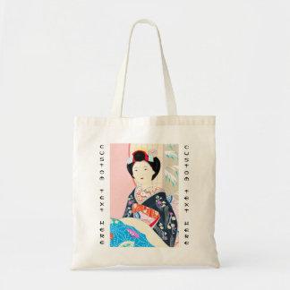 京都のブロケード、女性4つの葉-冬の日本人の トートバッグ