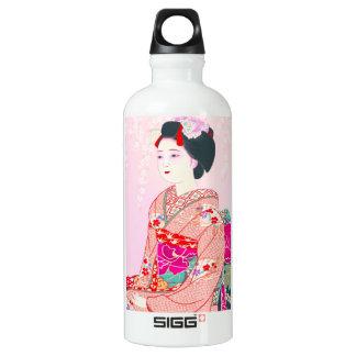 京都のブロケード、女性4つの葉-春の日本人の ウォーターボトル