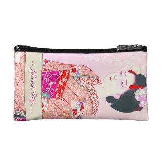 京都のブロケード、女性4つの葉-春の日本人の コスメティックバッグ