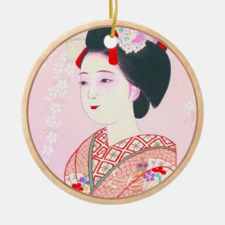 京都のブロケード、女性4つの葉-春の日本人の セラミックオーナメント