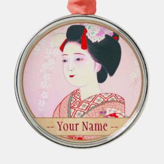 京都のブロケード、女性4つの葉-春の日本人の メタルオーナメント