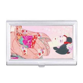京都のブロケード、女性4つの葉-春の日本人の 名刺入れ