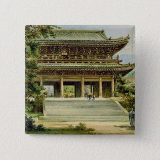 京都、日本の仏教寺院 5.1CM 正方形バッジ