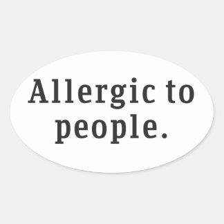 """""""人々にアレルギー"""" 楕円形シール"""