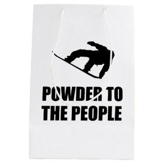 人々のスキーへの粉の雪 ミディアムペーパーバッグ
