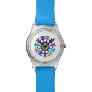人々の円パターン 腕時計