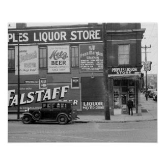 人々の酒屋1938年。 ヴィンテージの写真 ポスター