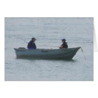 人および男の子の魚釣り カード