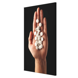 人のやしの多くの白い丸薬 キャンバスプリント