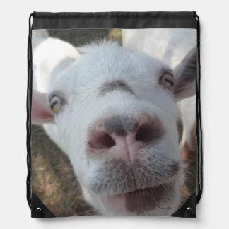 人のドローストリングのバックパックを凝視したヤギ ナップサック