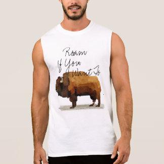"""人のバッファローは""""ワイシャツを押し進ませ""""たいと思えば歩き回ります 袖なしシャツ"""