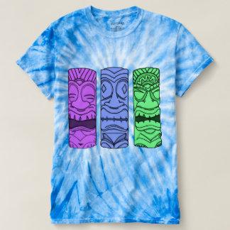 人のポップアートのTikiのヘッド絞り染めのティー Tシャツ