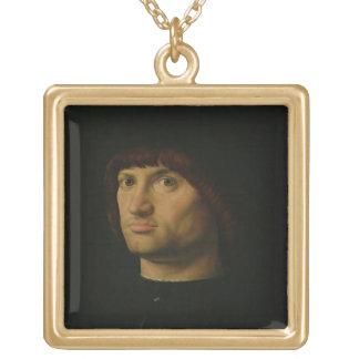 人のポートレート、かCondottiere 1475年(油o ゴールドプレートネックレス