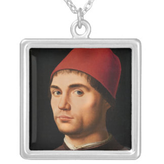 人のポートレート、c.1475 シルバープレートネックレス