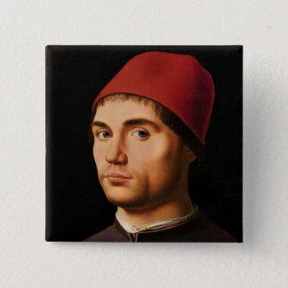 人のポートレート、c.1475 5.1cm 正方形バッジ