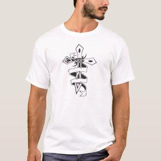 人のリボンの剣の十字のデザインの不足分の袖のティー Tシャツ