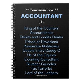 人の会計士は一流のおもしろいで及び間抜けな職名を加えます ノートブック