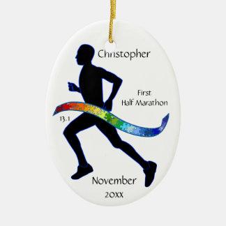 人の半分のマラソン選手のパズルの虹のオーナメント セラミックオーナメント