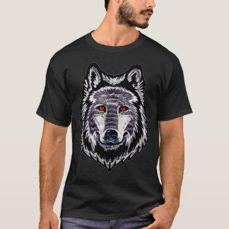 人の基本的な暗いTシャツの狼人間の頭部のデザイン Tシャツ