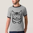 人の幸せな猫のTシャツ(黒い虎猫) Tシャツ