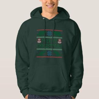 人の恐竜の雪だるまの醜いクリスマスのセーターのフード付きスウェットシャツ パーカ