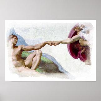 人の握りこぶしの隆起のミケランジェロのおもしろいな作成 ポスター