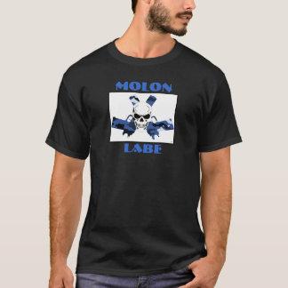 人の暗いTシャツのMolon Labeのピストル及びスカル Tシャツ