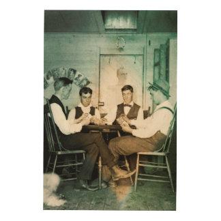 人の洞窟のポーカーゲーム1890の写真の人のテキサス州の把握 ウッドウォールアート