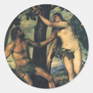 人の秋; Titian著アダムそしてイブ 丸形シール・ステッカー