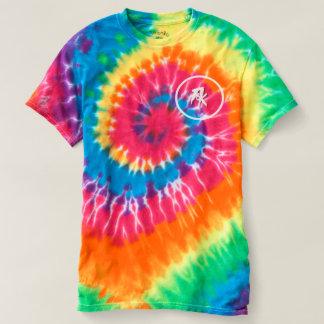 人の螺線形の絞り染めのTシャツ、虹の渦巻Fk Tシャツ