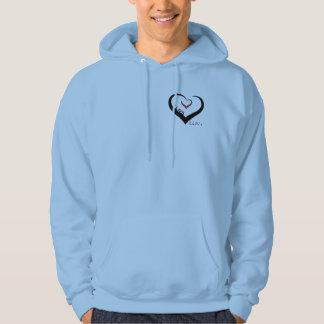 人の青いフード付きスウェットシャツ パーカ