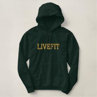 """人の""""LIVEFIT""""の刺繍されたプルオーバーのフード付きスウェットシャツ 刺繍入りパーカ"""