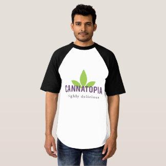 人のRaglanの野球のCannatopiaのロゴのティー Tシャツ