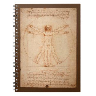 人のVitruvianの人のレオナルドDa Vinciの解剖学 ノートブック
