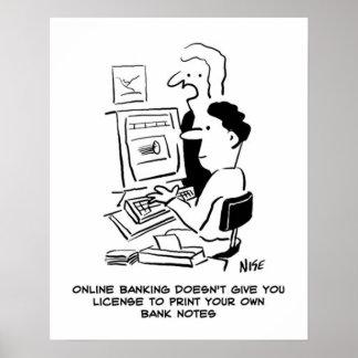 人は銀行券のオンラインの漫画を所有するために印刷します ポスター
