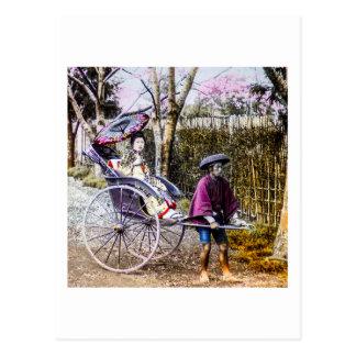 人力車古い日本のヴィンテージの芸者の旅行 ポストカード