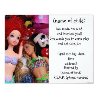 人形のパーティーの招待 カード