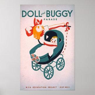 人形及び乳母車のヴィンテージポスター ポスター