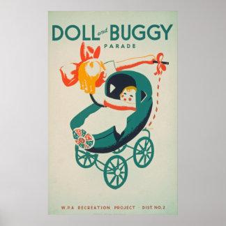 人形及び乳母車パレードのヴィンテージポスター ポスター