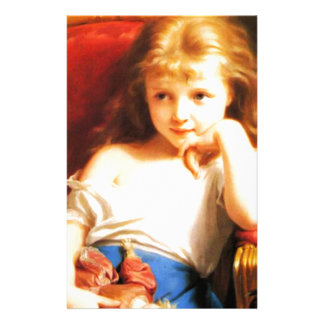 人形(ヴィンテージの芸術)を握っている女の子 便箋