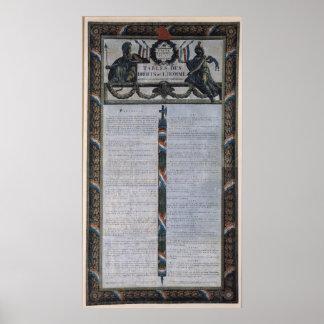 人権の宣言のテーブル ポスター